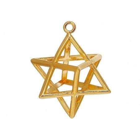 Pendentif géométrique Merkaba doré     - 1