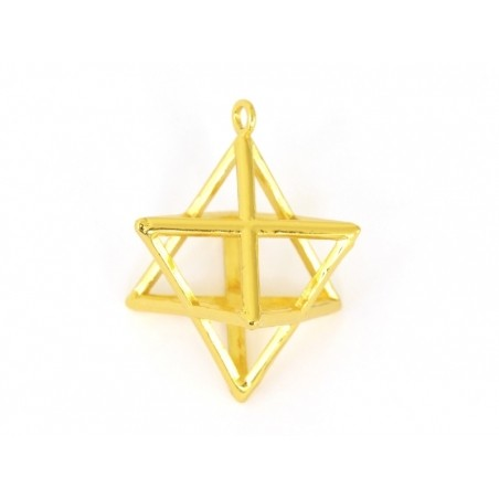 Pendentif géométrique Merkaba doré     - 3