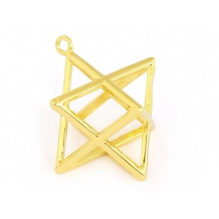 Pendentif géométrique Merkaba doré     - 4