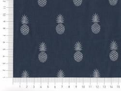 Tissu motif ananas  «A nana's fabric» - bleu marine et argenté