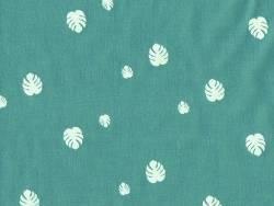 Tissu motif monstera - bleu canard Motif Personnel - 1