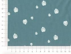 Tissu motif monstera - bleu canard
