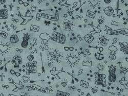 Tissu molleton  gris foncé chiné « tatouée pour la journée» Motif Personnel - 1