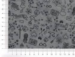 Tissu molleton  gris foncé chiné « tatouée pour la journée»