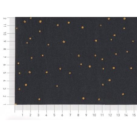 Tissu Sweat bleu nuit  à pois métallisés «twinkle night» Atelier Brunette - 3