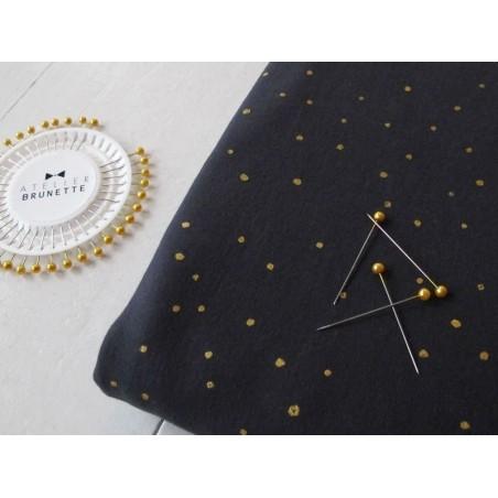 Tissu Sweat bleu nuit  à pois métallisés «twinkle night» Atelier Brunette - 2