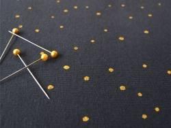 Tissu Sweat bleu nuit  à pois métallisés «twinkle night» Atelier Brunette - 4