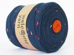 Grande bobine de fil trapilho - bleu à motifs géométriques