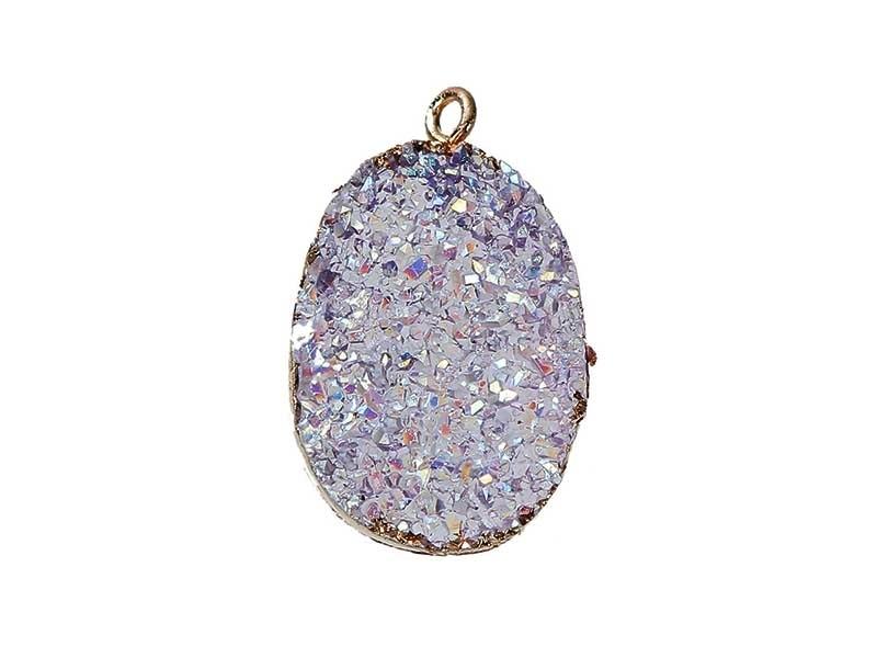 Acheter Pendentif druzy ovale en résine - mauve irisé - 2,49€ en ligne sur La Petite Epicerie - 100% Loisirs créatifs