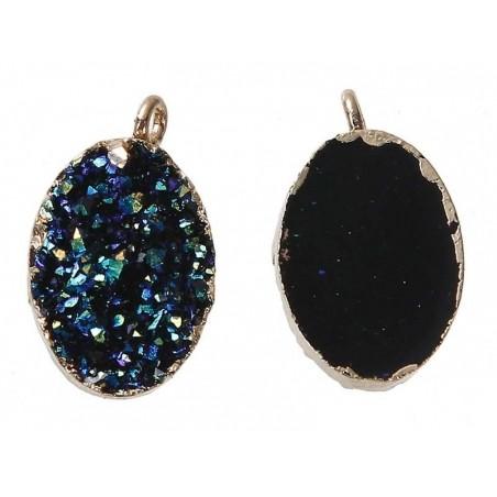 Acheter Petit pendentif en résine ovale - druzy noir - 1,99€ en ligne sur La Petite Epicerie - 100% Loisirs créatifs