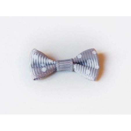 Mouse-grey bow with polka dots - 3 cm