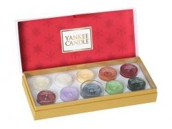 Coffret cadeau Yankee Candle spécial Noël - 10 bougies chauffe plat lumignons + photophore