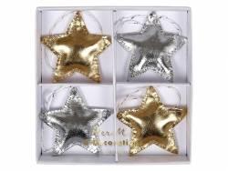 4 Décorations arbre de Noël Etoiles brillantes or et argent