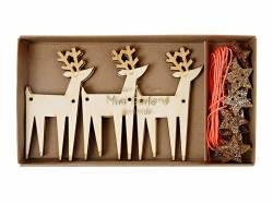 Guirlande DIY - petits rennes et étoiles à paillettes
