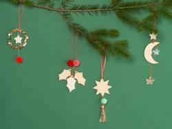 Décoration de sapin de Noël - étoile en bois
