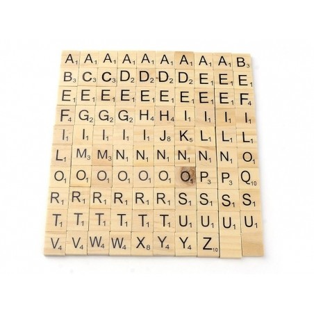 100 lettres en bois - type scrabble  - 2