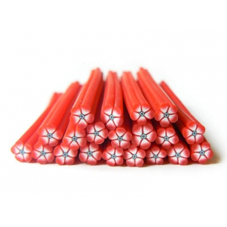 Flower cane - red with a black centre