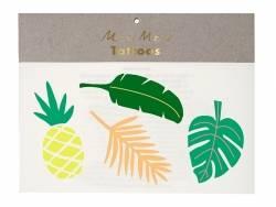 8 Tatouages temporaires -feuilles tropicales et ananas