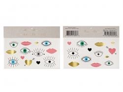 26 Tatouages temporaires - yeux et coeurs graphiques Meri Meri - 1