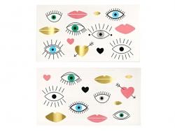 26 Tatouages temporaires - yeux et coeurs graphiques