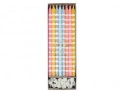 boîte de 24 bougies colorées - Rose, orange, gris, jaune