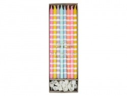 Box of 24 candles - Pink, orange, grey and yellow