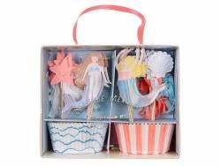 Kit cupcakes sirènes - 24 caissettes et toppers