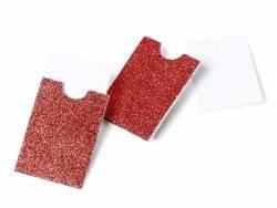 10 mini pochettes paillettées rouge  - marque place / étiquettes cadeaux