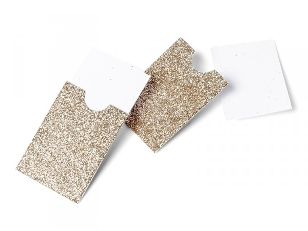 10 mini pochettes paillettées or blanc  - marque place / étiquettes cadeaux  Artyfêtes Factory - 1