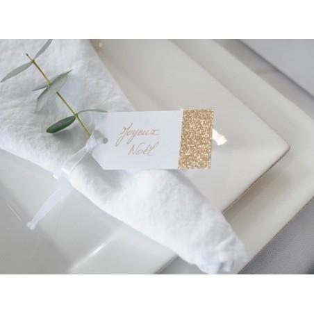 Acheter 8 étiquettes cadeaux à paillettes dorées  - 3,79€ en ligne sur La Petite Epicerie - 100% Loisirs créatifs