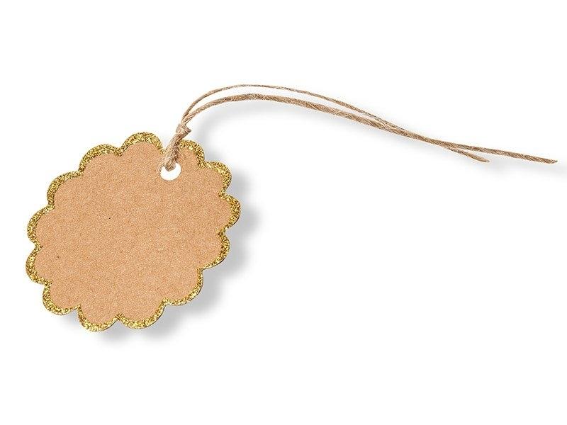 8 étiquettes cadeaux rondes en kraft - festons dorés Artyfêtes Factory - 1