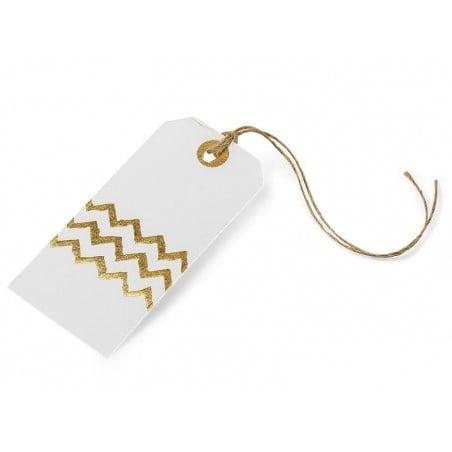Acheter 8 étiquettes cadeaux rectangulaires - chevrons dorés - 2,99€ en ligne sur La Petite Epicerie - Loisirs créatifs