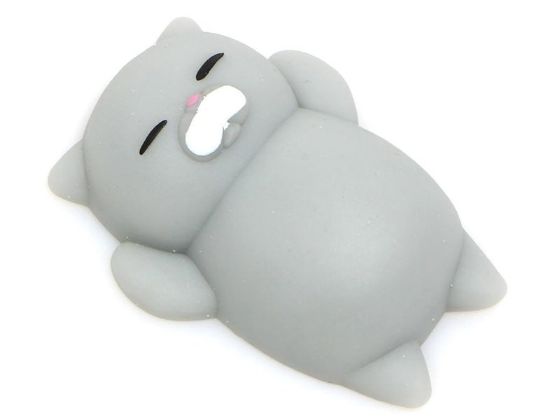 Mini squishy chat gris qui dort -  anti stress  - 1