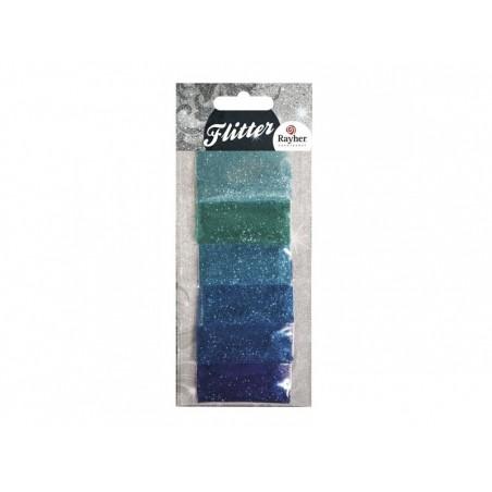 Acheter Lot de 6 sachets de poudres de paillettes - couleurs bleues - 2,99€ en ligne sur La Petite Epicerie - Loisirs créatifs