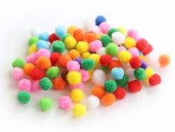 Lot de 100 pompons de couleur vives - 1 cm  - 1