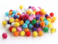Lot de 100 pompons de couleur vives - 1 cm