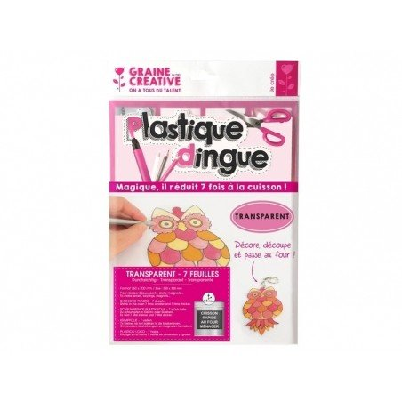 7 feuilles de plastique fou / plastique dingue - tranparent Graine Créative by DTM - 1