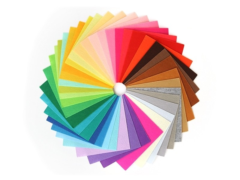 Lot de 40 plaques de feutrine multicolores - 15 cm x 15 cm  - 1