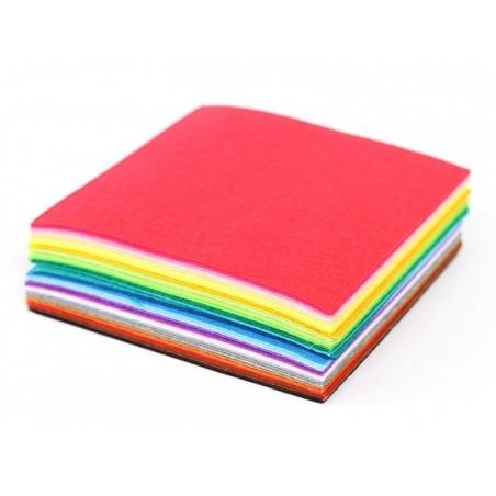 Lot de 40 plaques de feutrine multicolores - 15 cm x 15 cm  - 3