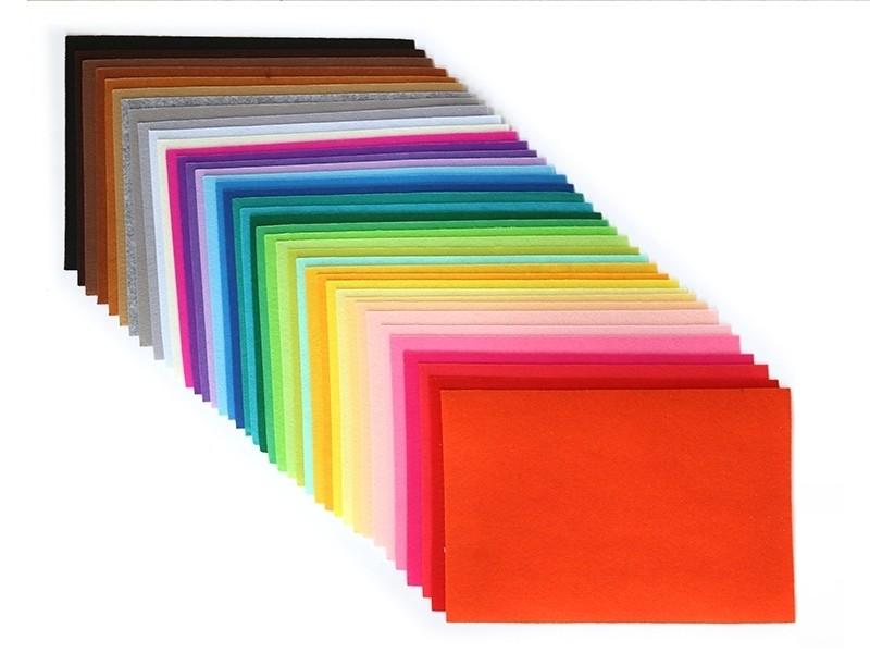 Lot de 40 plaques de feutrine multicolores - 30 x 20 cm  - 1