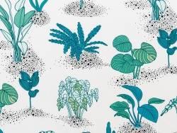 Toile enduite carreaux verts