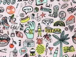 Acheter Tissu coton cool girls - imprimé motifs pop et fluo  - 1,99€ en ligne sur La Petite Epicerie - 100% Loisirs créatifs