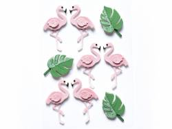 9 stickers 3D flamants roses