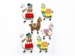 9 stickers 3D flamants lama
