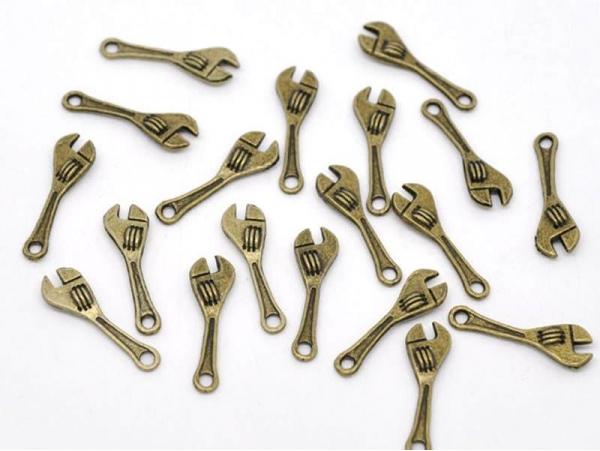1 Breloque clé bricolage couleur bronze  - 1