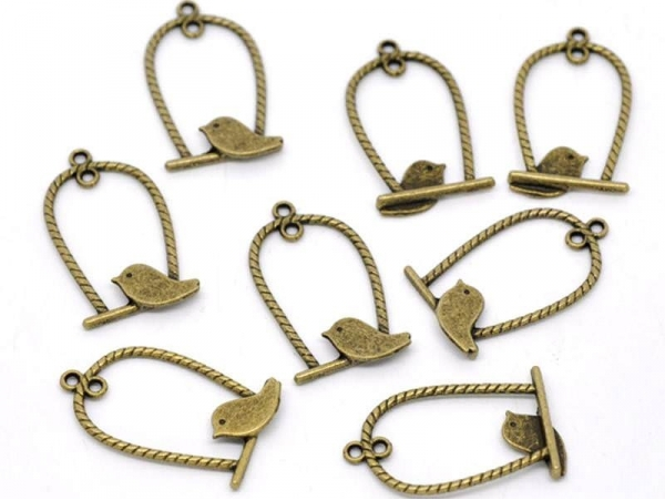 1 bird cage (with braided cords) charm - bronze-coloured