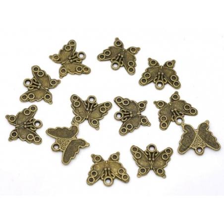 1 Breloque papillon - couleur bronze