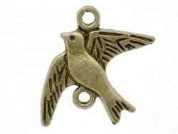 1 Breloque oiseau en vol - couleur bronze