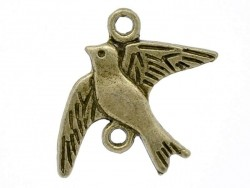 1 flying bird charm - bronze-coloured