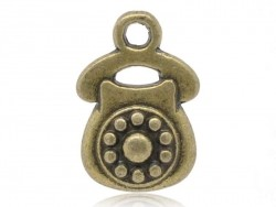 1 Breloque telephone vintage - couleur bronze  - 1